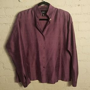 Eileen Fisher Plum 100% Silk Blouse